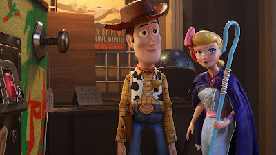 Woody the cowboy, voiced by Tom Hanks, and Bo Peep, voiced by Annie Potts, reunite in Pixar's 2019 sequel Toy Story 4