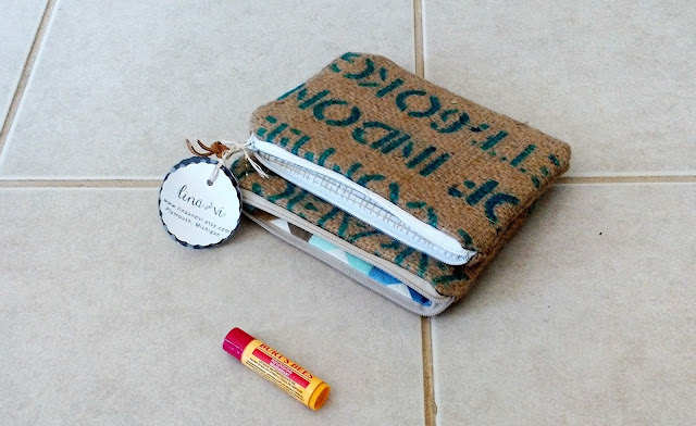 Set of two burlap zipper pouches by Lina and Vi - linaandvi.etsy.com