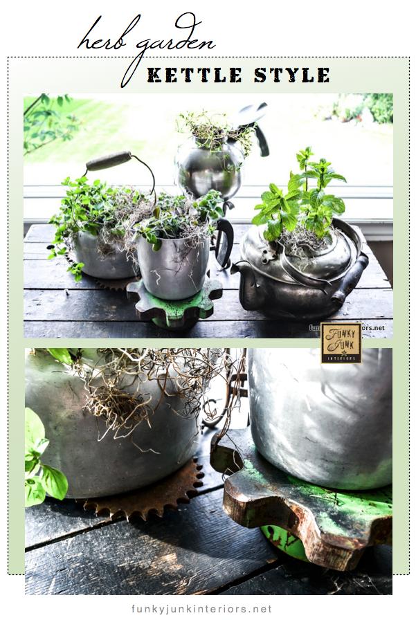 indoor herb garden planted in old kettles via Funky Junk Interiors