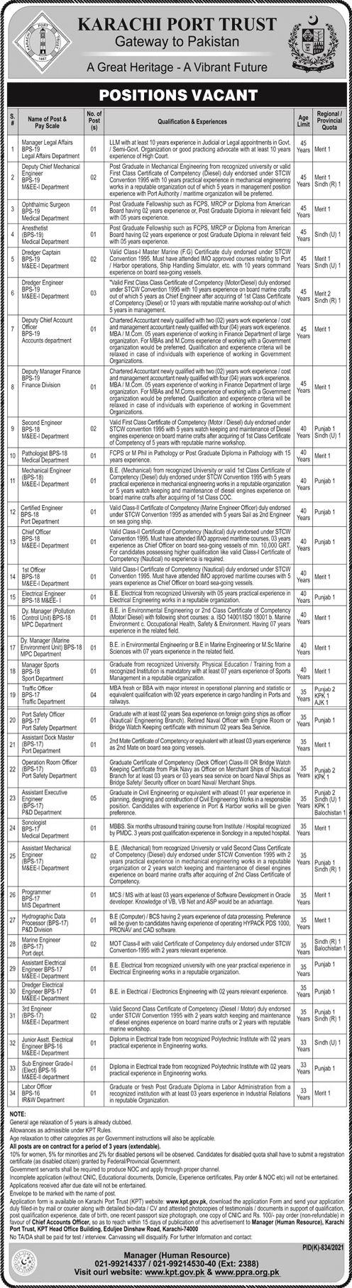 JOBS | Government of Pakistan Karachi Port Trust Gateway to Pakistan