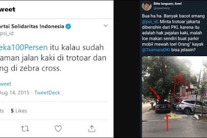 PSI Kena 'Tampol' Tweet Sendiri, Terciduk Parkir Mobil Serobot Trotoar