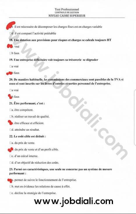 Exemple Concours de Recrutement Cadre Supérieur Test de Contrôle de Gestion - CNSS