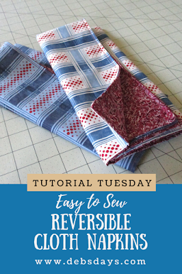 Homemade Reversible Cloth Fabric Napkins Sewing Project