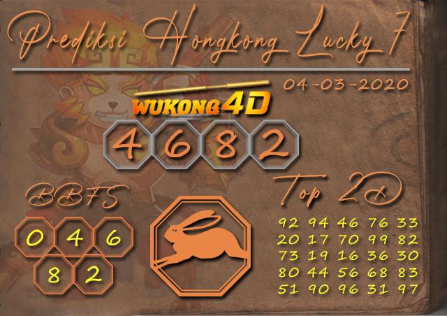Prediksi Togel HONGKONG LUCKY 7 WUKONG4D 04 MARET 2020