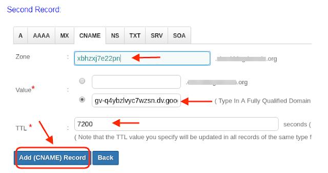 add custom domain name blogger