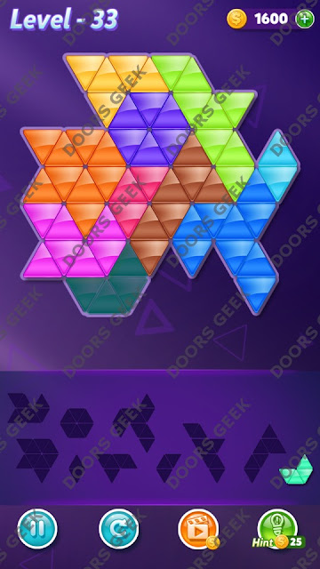 Block! Triangle Puzzle 10 Mania Level 33 Solution, Cheats, Walkthrough for Android, iPhone, iPad and iPod