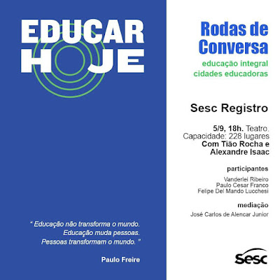 Encontro no Sesc Registro-SP discute educação integral e cidades educadoras