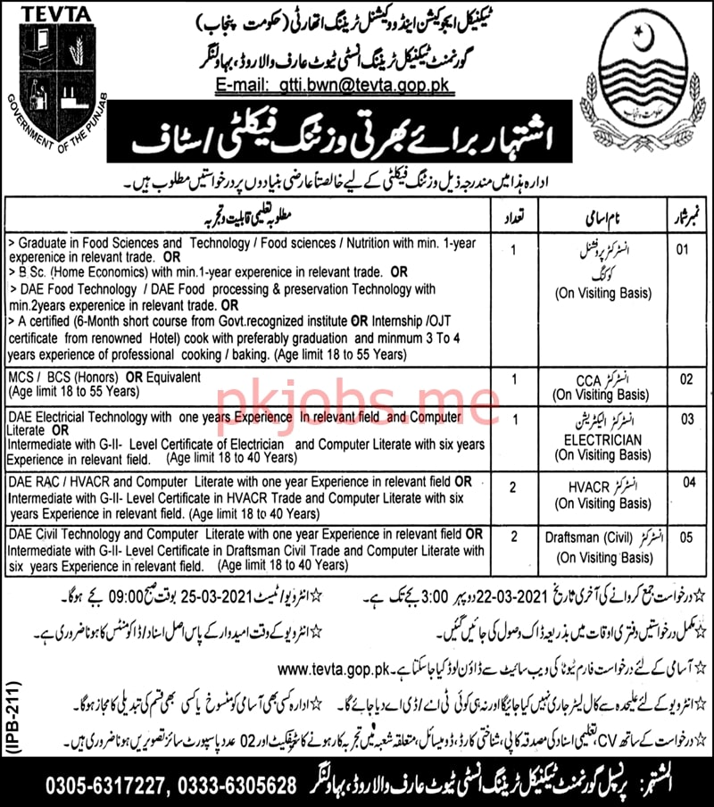Latest Technical Education & Vocational Training Authority Instructor Posts 2021