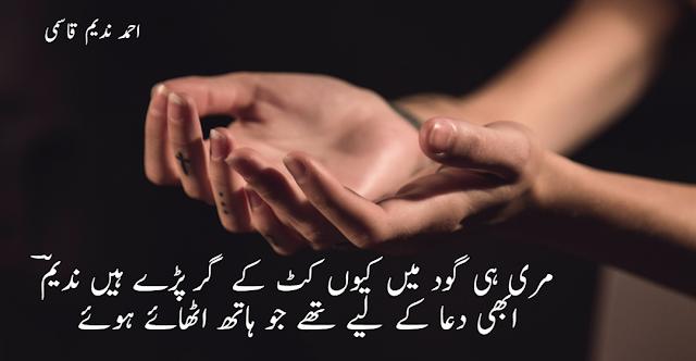 Meri hi Ghod mie kion katt ke girr parray hain Nadeem By Ahmad Nadeem Qasmi - 2 lines urdu poetry - nadeem qasmi shayari