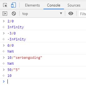 tipe data angka spesial pada javascript