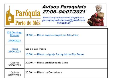 Avisos Paroquiais - 27/06 - 04/07/2021