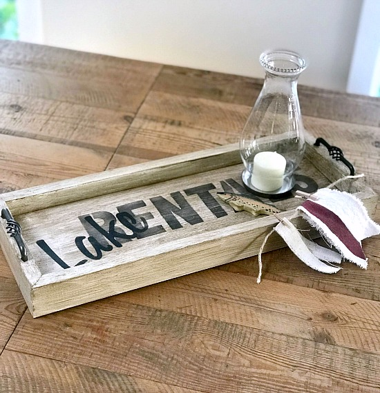 Lake Rentals rustic tray with cabinet handles