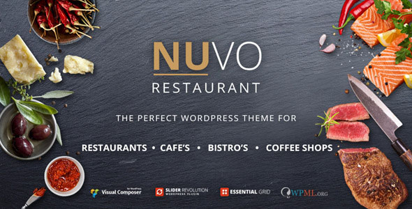 Free download updated version of NUVO V5.5.6 - Cafe & Restaurant WordPress Theme