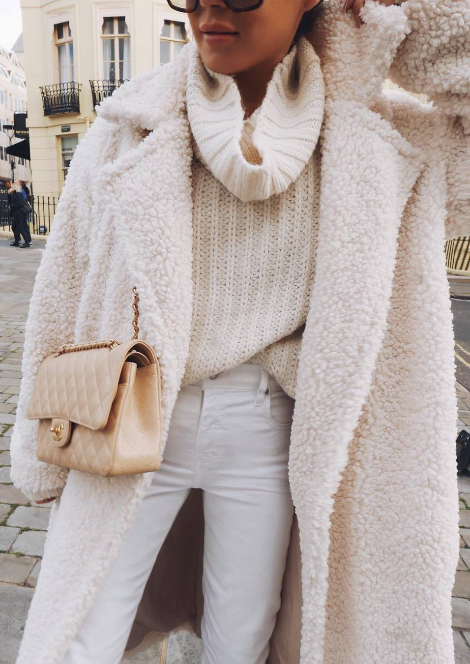 white on white | coat + sweater + skinnies + bag
