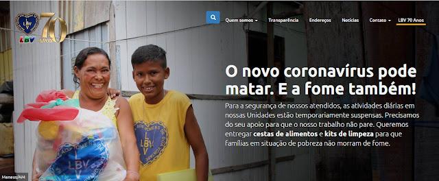 LBV entrega doações a famílias para ajudar a conter o novo coronavírus