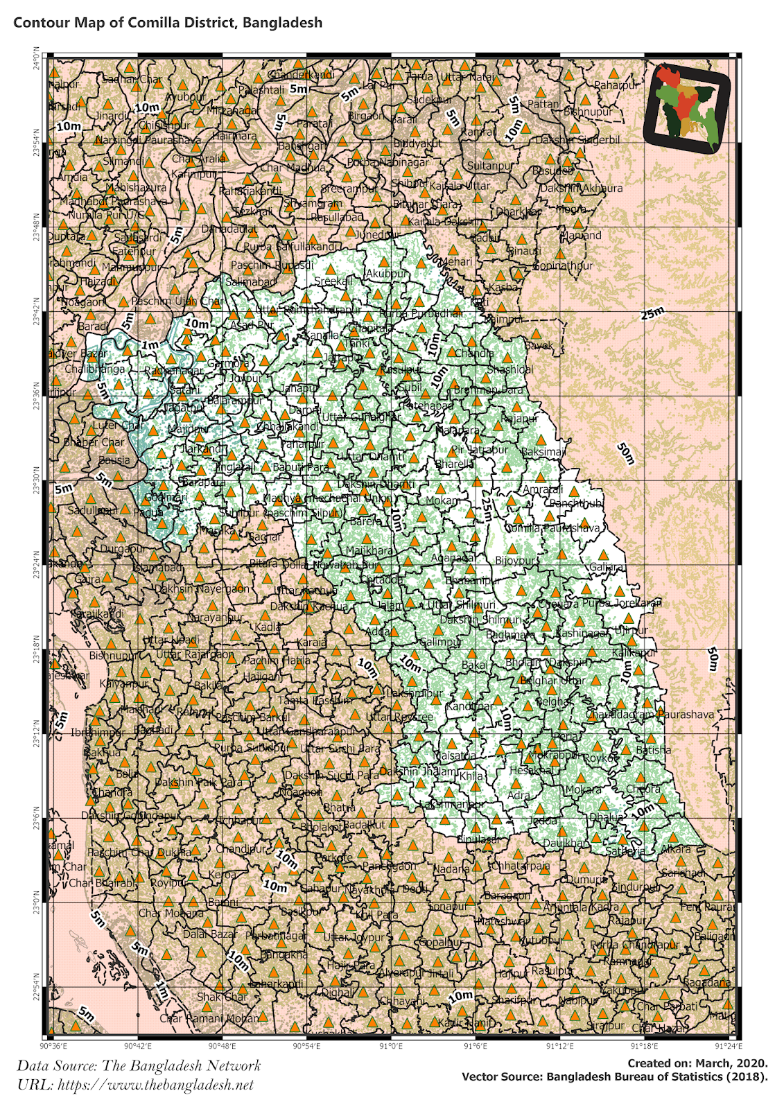 Elevation Map of Comilla District of Bangladesh