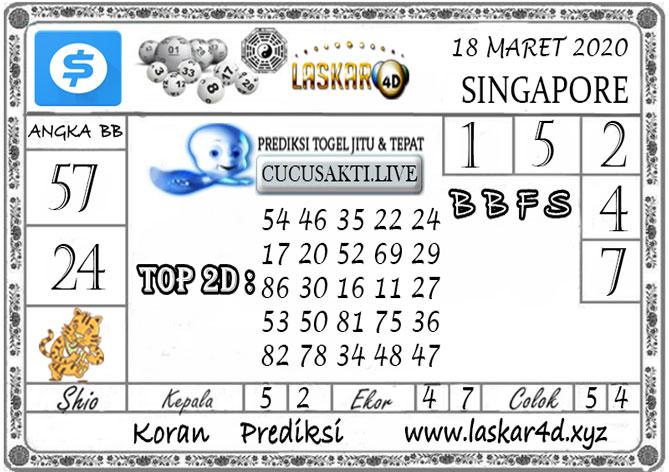 Prediksi Togel SINGAPORE LASKAR4D 18 MARET 2020