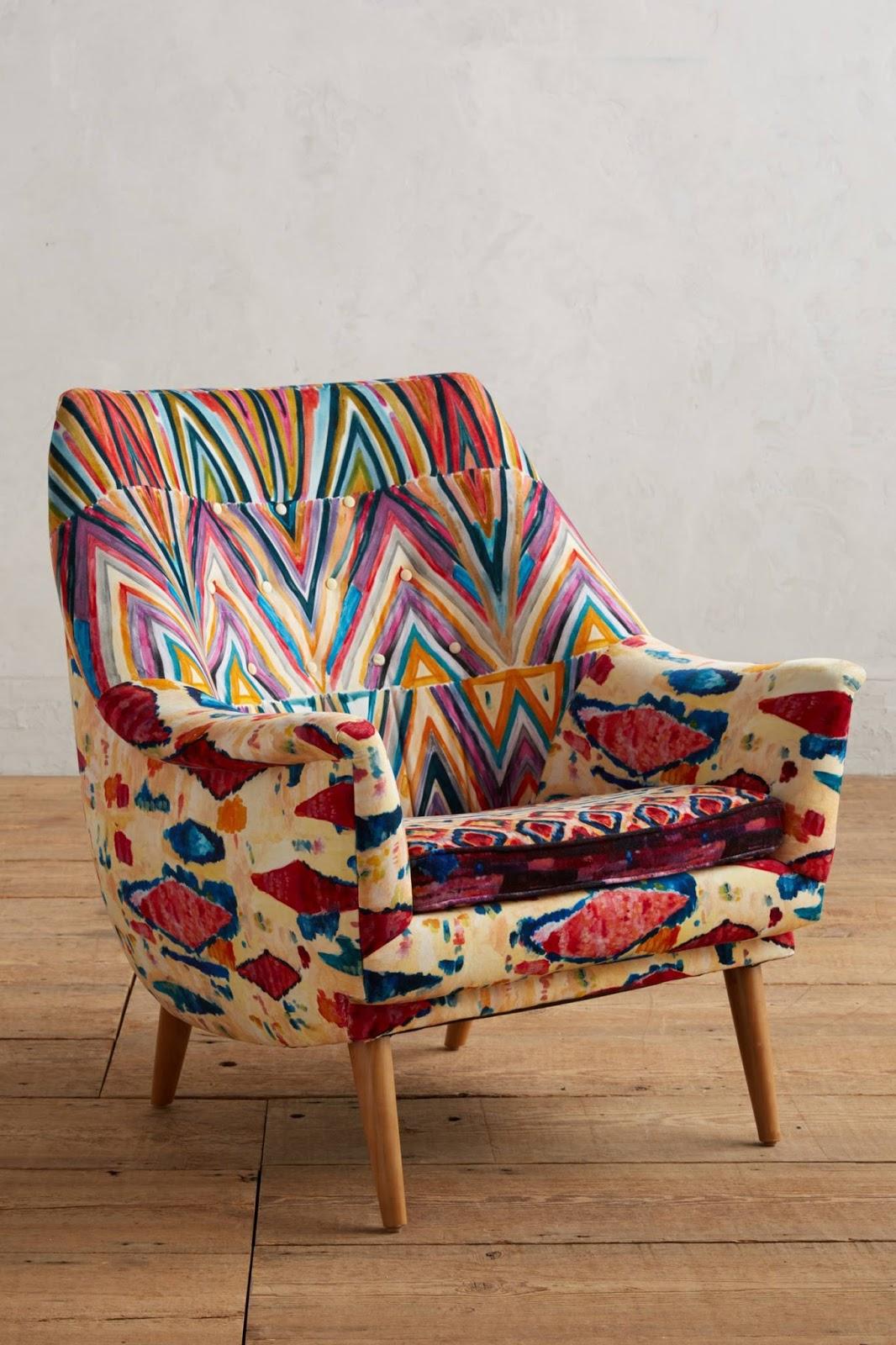 Anthropologie Medina Rivona Chair Colorful Print