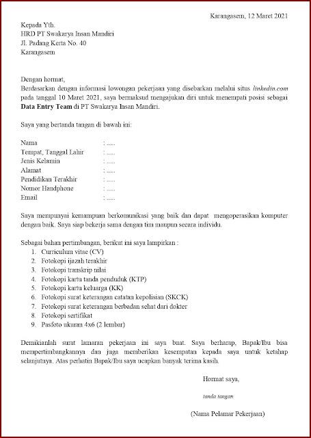 Contoh Application Letter Untuk Data Entry Team (Fresh Graduate) Berdasarkan Informasi Dari Website