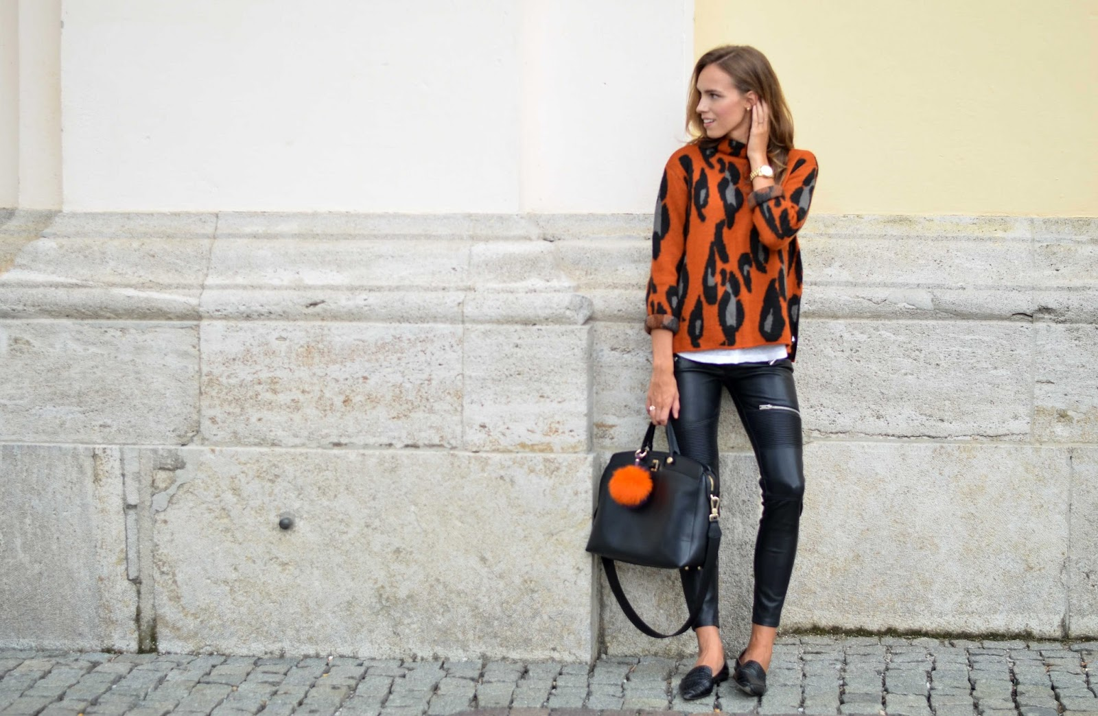 kristjaana mere leopard sweater leather pants street style fall 2015
