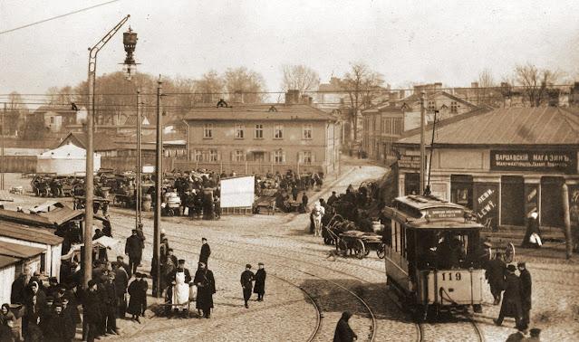 Начало ХХ в. Трамвай у Агенскалнского рынка.