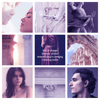 "a nine panel aesthetic of statues, character inspiration models, a scenes from Rome, as well as a quote ""Black moon, bloody moon, something's coming, something soon"""