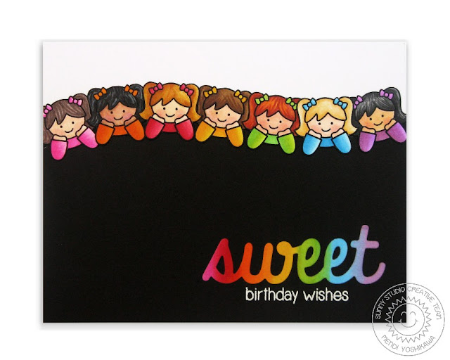 Sunny Studio Stamps: Little Angels Rainbow Birthday Card by Mendi Yoshikawa