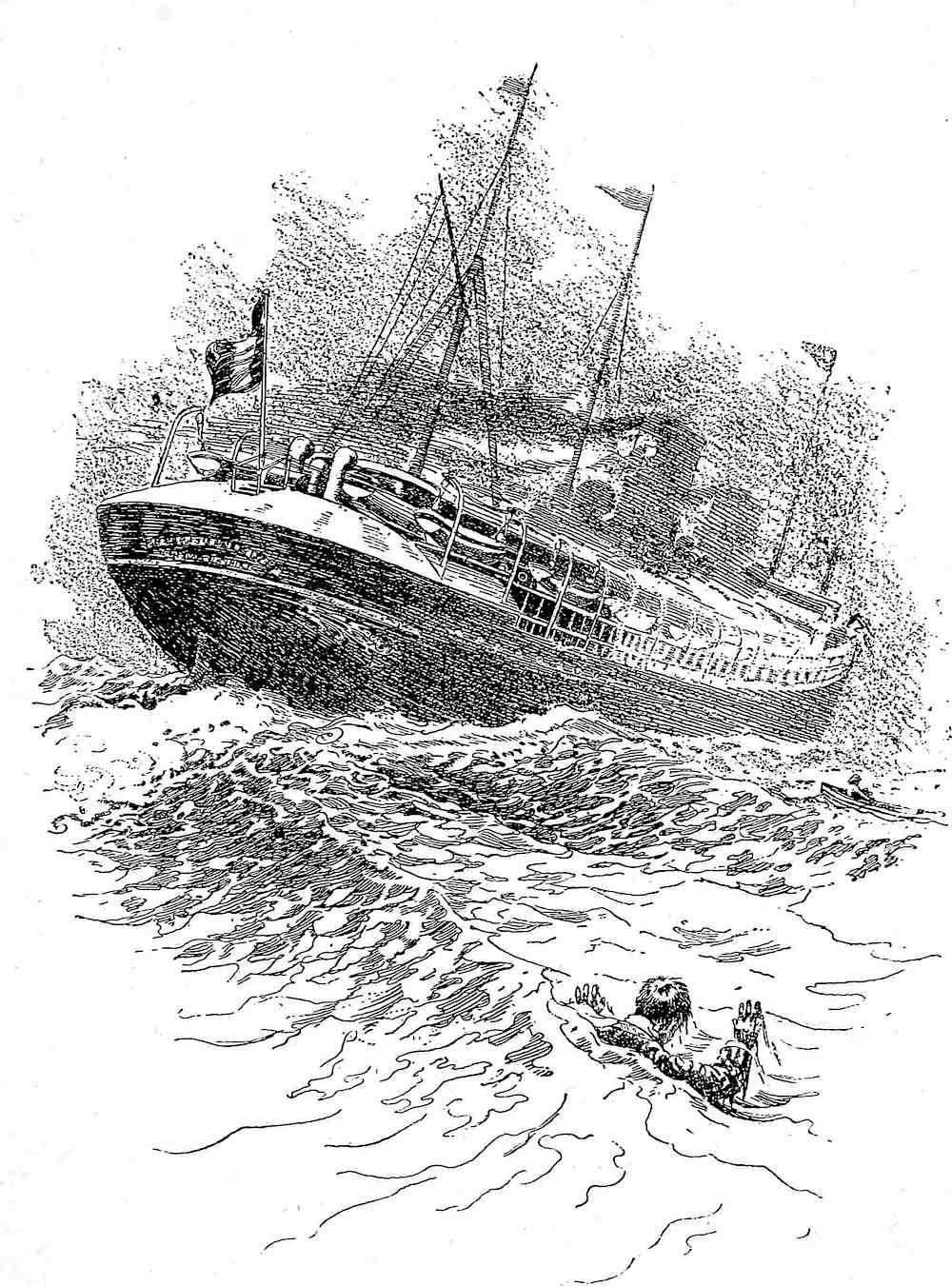 a I.W. Taber illustration 1897, a man overboard from a ship
