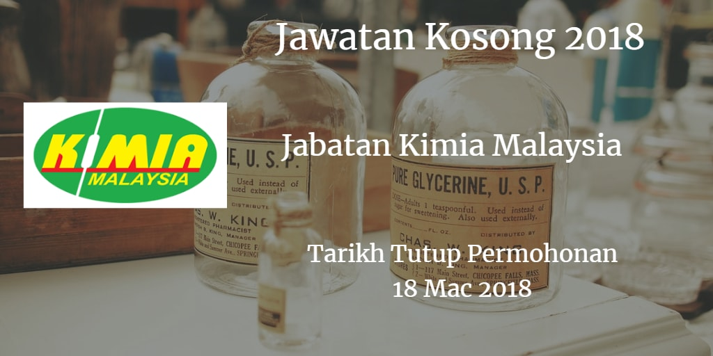 Jawatan Kosong Jabatan Kimia Malaysia 18 Mac 2018