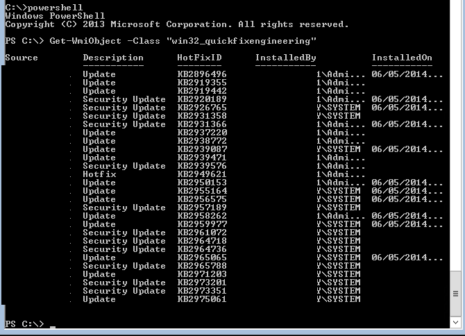 Powershell - Get List of Windows Updates Installed 1