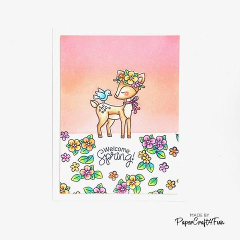 Welcome Spring Card by March Guest Designer Jane Trivedi | Woodland Spring Stamp Set by Newton's Nook Designs #newtonsnook