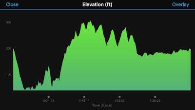 graph of the elevation of my run. There is a lot of up and down, especially at the start.