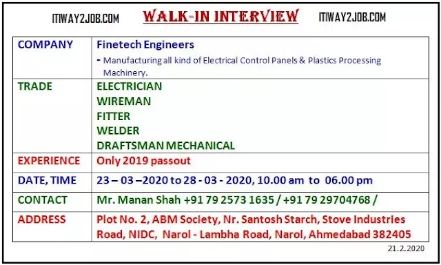 Walk IN Interview Finetech Engineers  Placement ITI Kubernagar