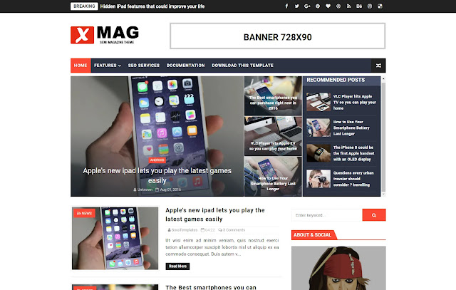 X-Mag Responsive Magazine Personal Blog Tutorial Blogger Template Theme