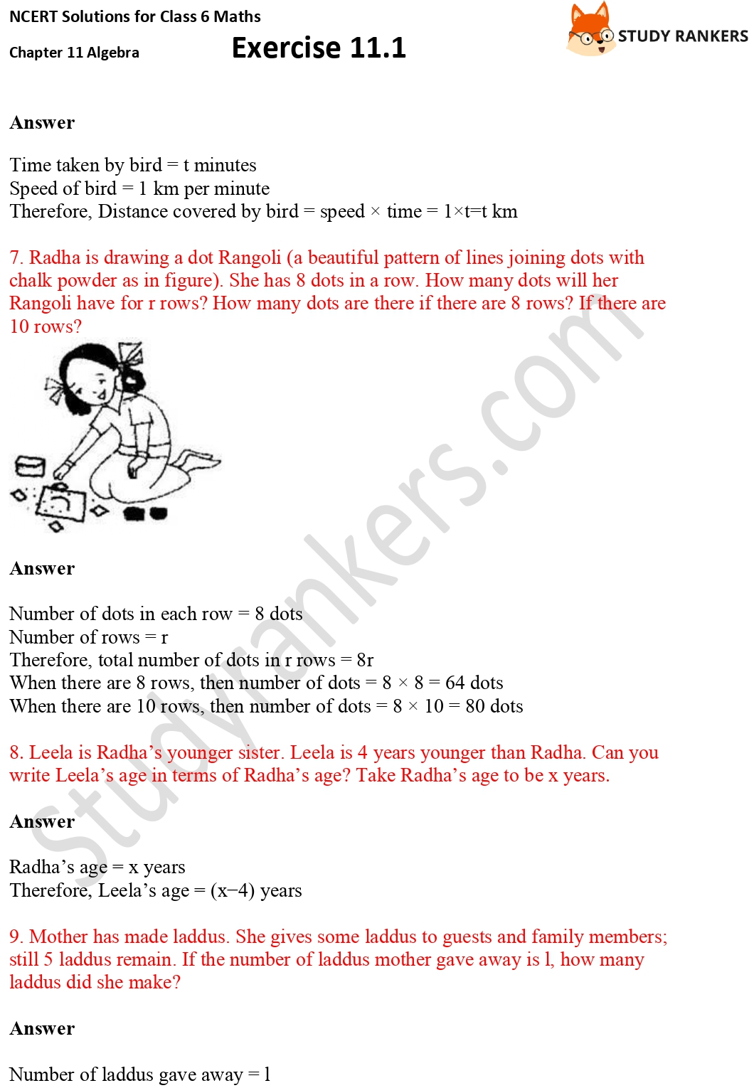 NCERT Solutions for Class 6 Maths Chapter 11 Algebra Exercise 11.1 Part 3