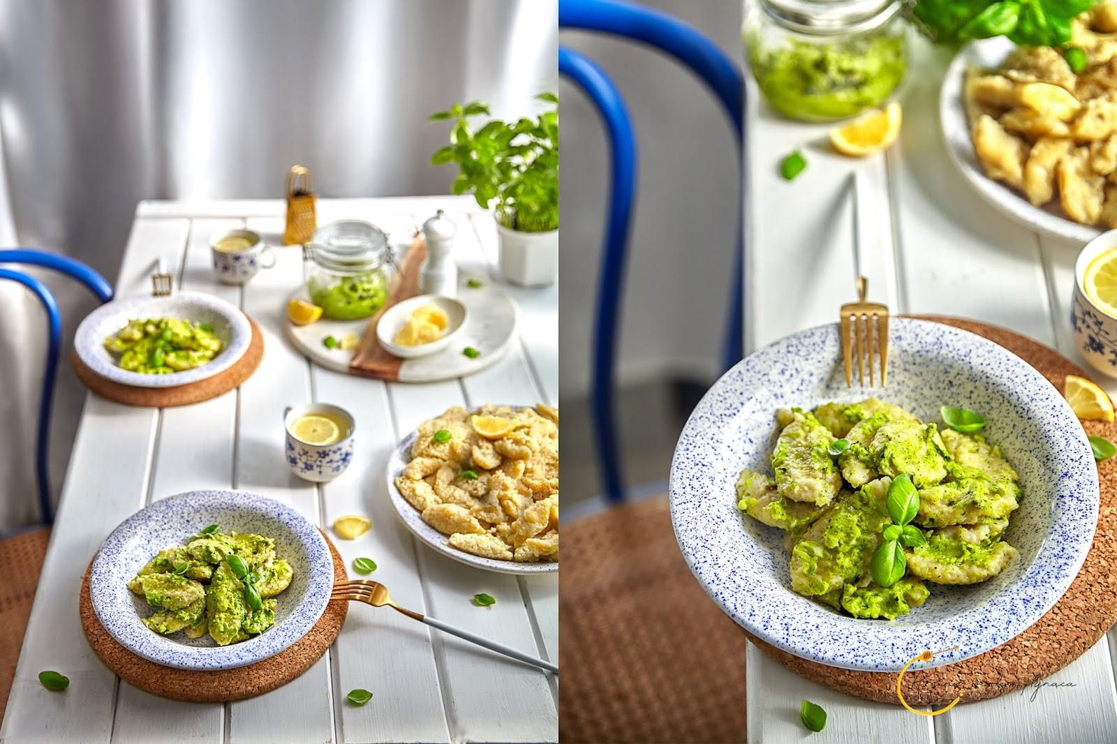 szare kluski, pesto bazyliowe, kluski z ziemniaków, pesto z bazylii, wege obiad, wegetariański obiad, polska kuchnia, kraina miodem płynąca