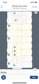 Hilton Honors app shows floor layout in choose your room feature