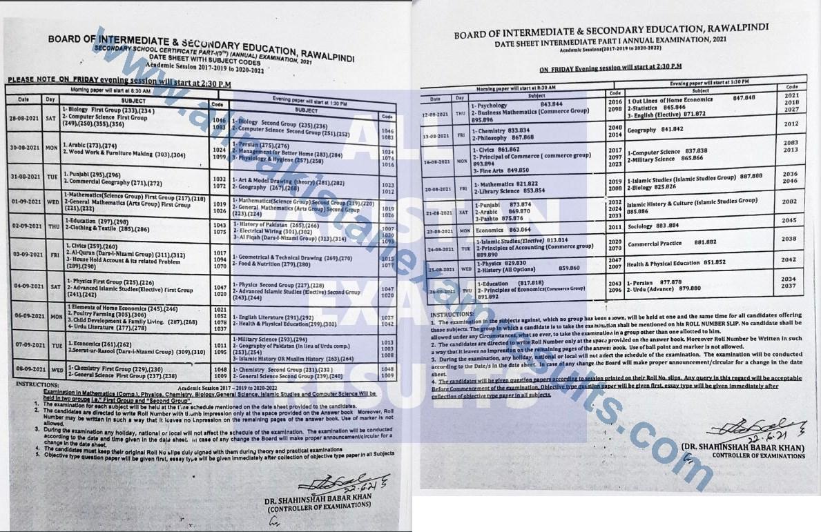 Date Sheet 2021 Rawalpindi Board Class 9th & Class 11th Annual Exam