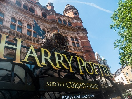 Harry Potter and the Cursed Child sign outside the Palace Theatre