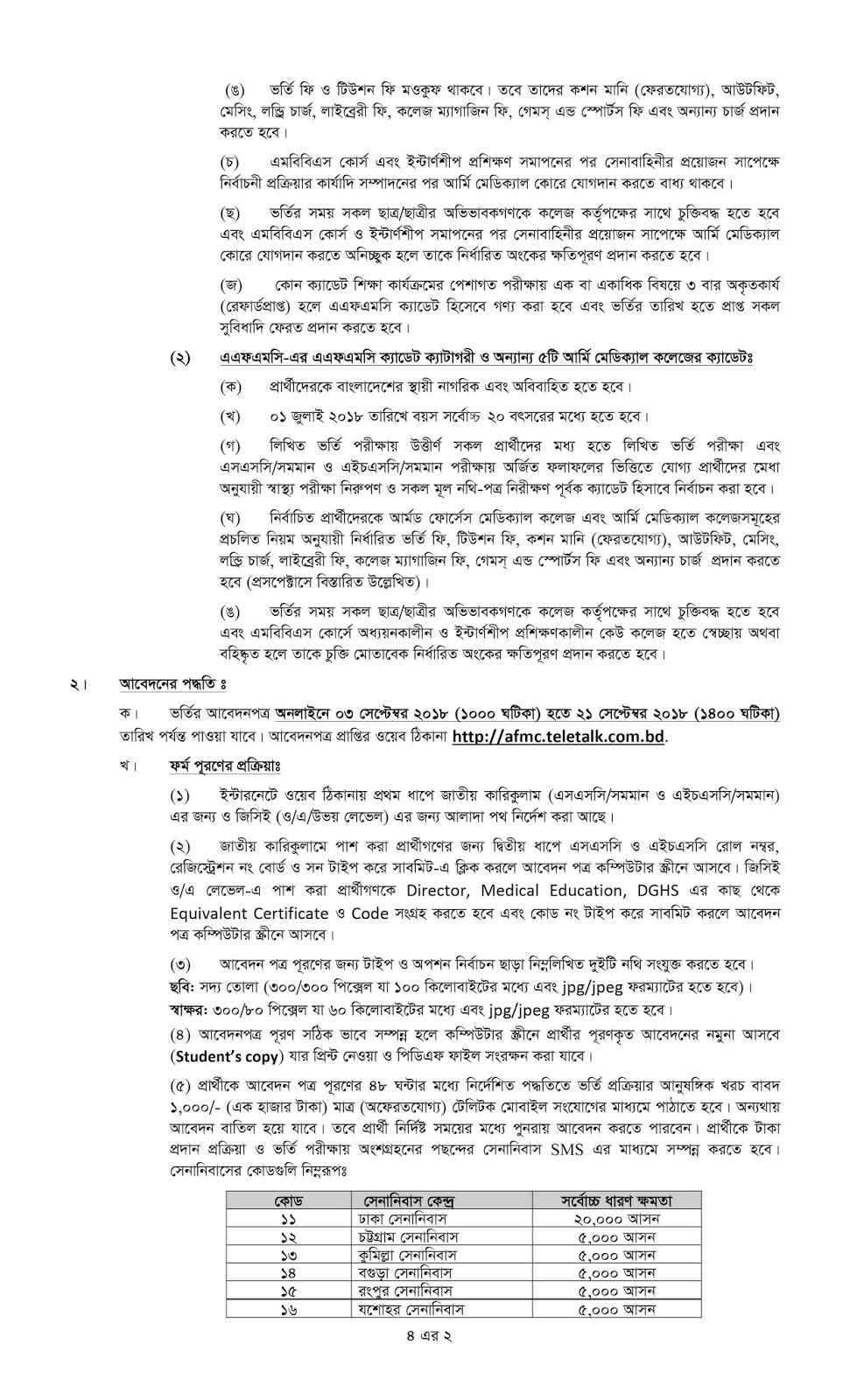 Bangladesh Armed Forces Medical College (AFMC) Admission Circular 2018-2019