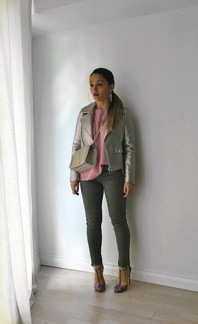 Life in your 30s, what is life about, how to get through tough time, fashion art, blush colors outfit, metallic jacket, metallic moto-jacket, biker jacket, metallic biker jacket, grant jeans, how to wear metallics, toronto blogger, fashion canadians, canadian fashion bloggers