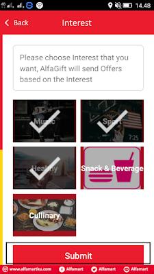 cara memilih kesukaan di aplikasi alfamart