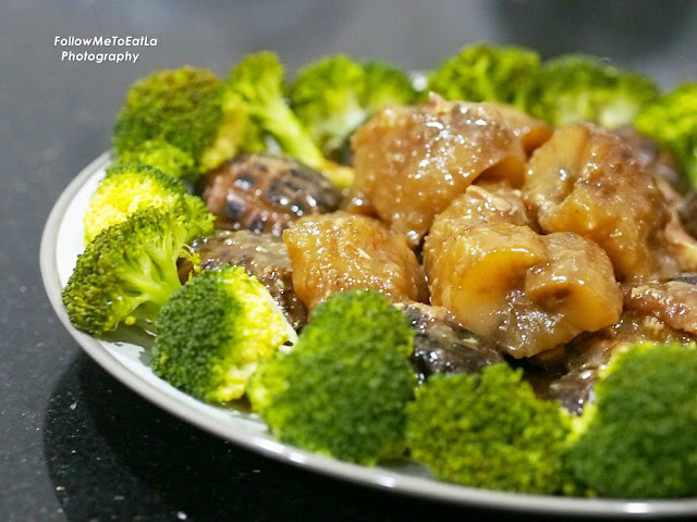 Braised Sea Cucumber With Roast Pork Leg, Mushroom & Broccoli