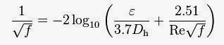 Colebrook equation from Chemineering.blogspot.com