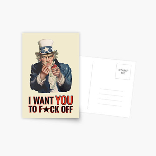 Uncle Sam - fuck off - parody post cards