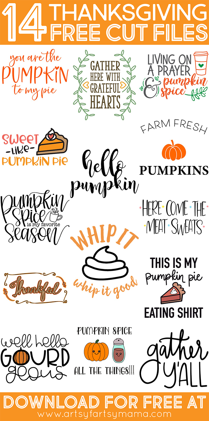 14 Free Thanksgiving Cut Files