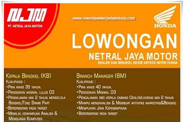 Lowongan Kerja Karyawan Dealer PT. Netral Jaya Motor
