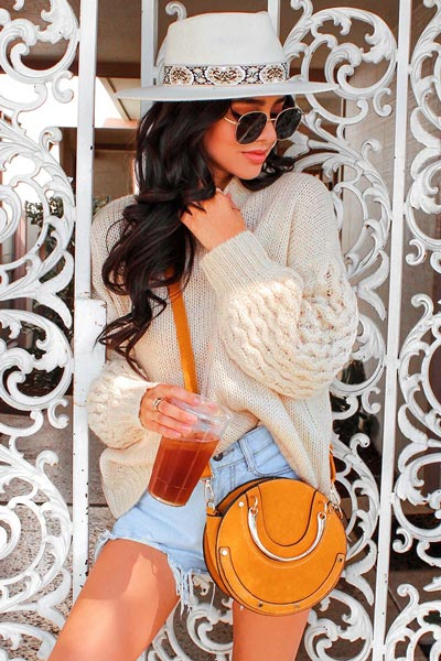 19 Preppy Fall Inspired Outfits to Try this Season | Plush Mock Neck Sweater