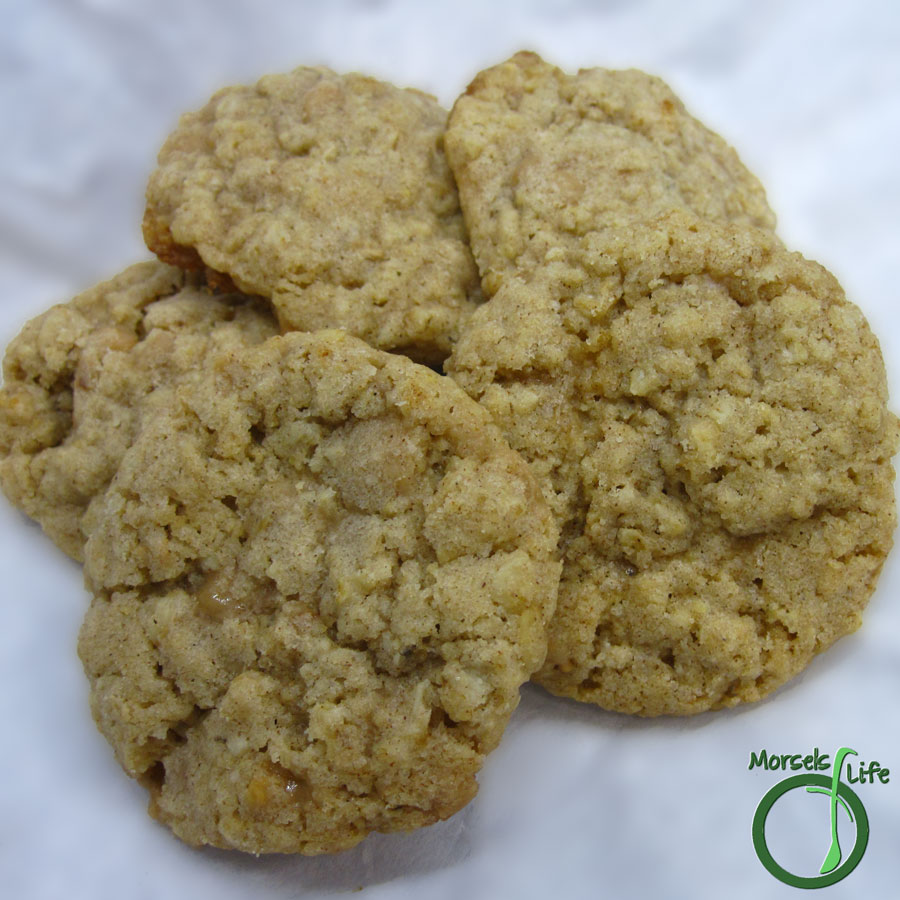 Morsels of Life - Oatmeal Toffee Cookies - Crunchy oatmeal cookies with a crisp surface, enhanced with toffee bits.