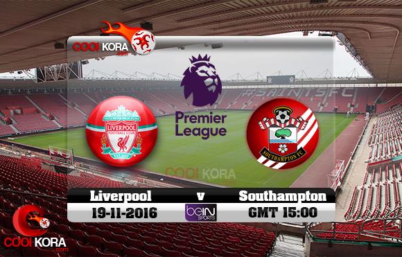 مشاهدة مباراة ساوثهامبتون وليفربول اليوم 19-11-2016 في الدوري الإنجليزي